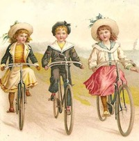 Kids on bikes litho